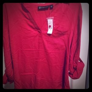 Red button back blouse